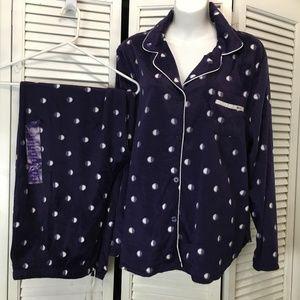 DKNY pajamas fuzzy winter in purple polka dot XXL